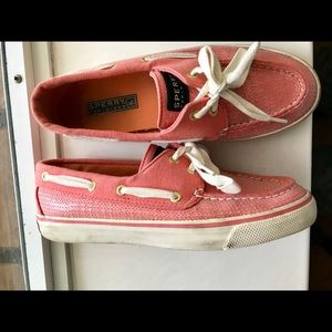💝FINAL Pink Sequin Sperry Top Sider W 6.5M💝